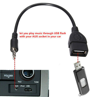 3.5mm Male AUX Audio Plug To USB 2.0 A Female Jack OTG Convertr Lead Adapter BLK • 2.10£