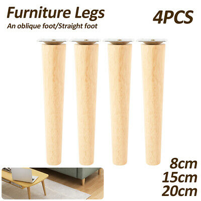 AU31.99 • Buy 4 X Wooden Furniture Legs + Pads Turned Feet Lounge Couch Sofa Cabinet Raw  AU