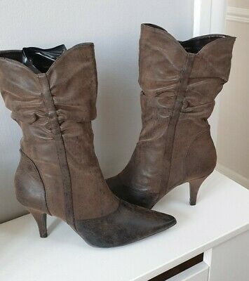 Ladies London Rebel Faux Leather Antique Brown Slouch Boots - New - Size 8 • 15.99£