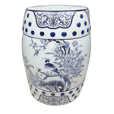 £107 • Buy Chinese Ceramic Stool / Plant Stand - Blue And White Pheasants And Peonies