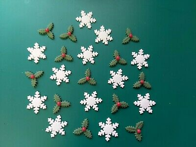 £4.80 • Buy 24 Snowflakes & Triple Holly Leaves - Edible Sugar Cake Decorations / Toppers