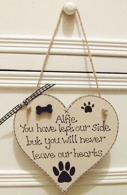 Handmade Personalised Dog Memorial Remembrance Heart Plaque Sign Pet Home Gift • 7.99£