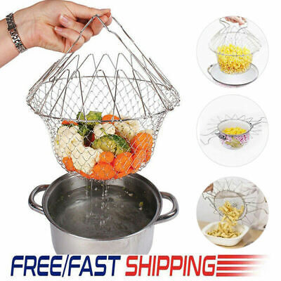 Chef Basket Collapsible Colander Mesh Basket Foldable Kitchen Steam Accessories • 8.99£