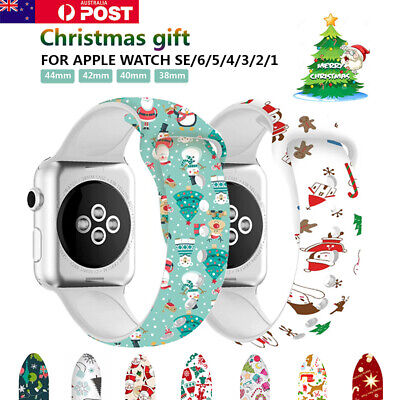 AU12.89 • Buy For Apple Watch Band Series SE 6 5 4 3 Silicone 40 42 44mm Christmas Gift Strap