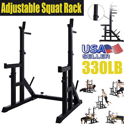 $ CDN242.08 • Buy Adjustable Barbell Squat Power Rack Weight Bench Press Barbell Stand Holder Gym