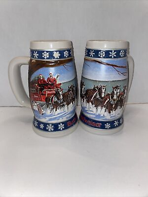 $ CDN19.90 • Buy Vintage Budweiser 1995 Christmas Stein Lighting The Way Home Clydesdale Set Of 2