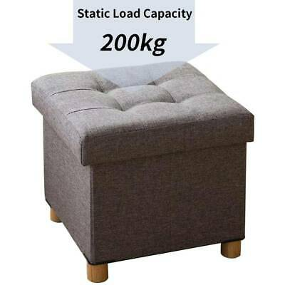 Fabric Foot Rest Stool Storage Space Box Chair Cube Footstool Pouf Bench 4 Legs • 18.99£
