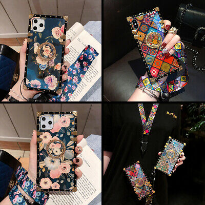AU14.99 • Buy For IPhone 13 12 Pro Max 11 X XR 7 Luxury Flower W/ Ring Metal Square Case Cover