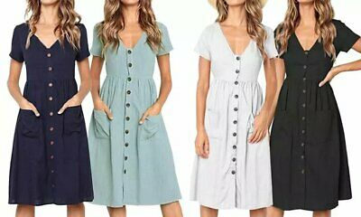 £10.99 • Buy Womens Ladies Casual Pocket Front Button Swing Midi Dress UK 8-16