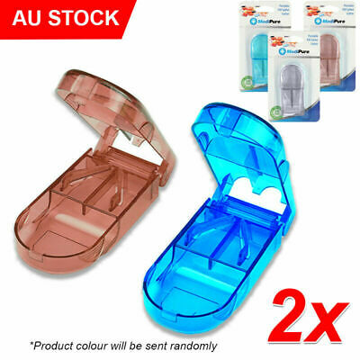AU15.79 • Buy 2x Pill Tablet Vitamin Cutter Splitter Divider Portable Medicine Storage Box AU