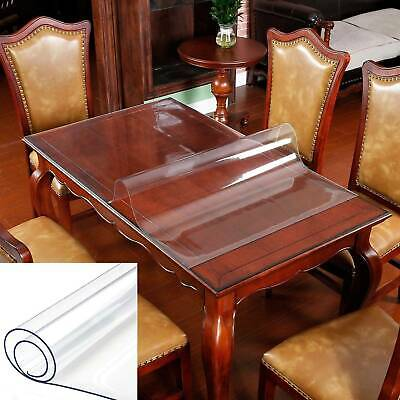 AU59.79 • Buy PVC Crystal Clear Plastic Table Cover Mat Thick For Desk Dining Table 90x180 Cm