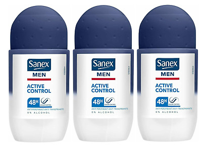 THREE SANEX Active Control MEN'S ROLL-ON 50ml - 48H Protects, 0% Alcohol • 6.91£