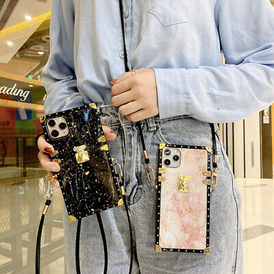 AU18.99 • Buy Epoxy Marble Pattern Metal Square Crossbody Case For IPhone 12 11 Pro Max XR 7 8