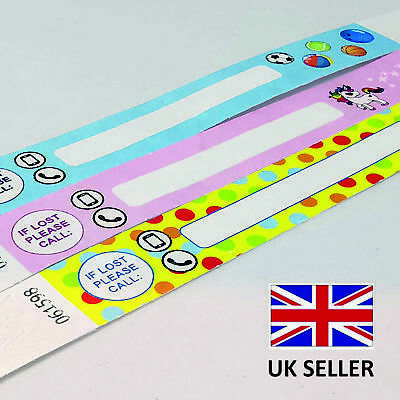 £3.99 • Buy TYVEK Paper ID Security KIDS CHILD IF LOST Safety Wristband