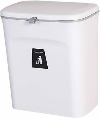 Hanging Trash Can With Sliding Cover Built-in Bin Waste Bin Lid For Cabinet Door • 40.69£