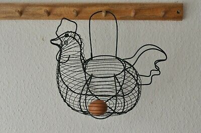 Wire Vintage Egg Storage Hen Chicken Shaped Basket Holder Green • 7£