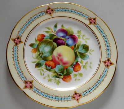 Fine Antique Minton Style Enamel Jeweled Painted Fruits Cabinet Plate • 62.89£