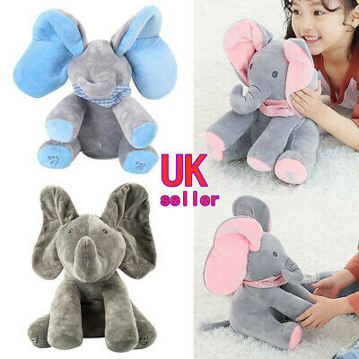 Peek-a-boo Music Elephant Baby Plush Toy Stuffed Doll Animated Singing Baby Gift • 11.80£