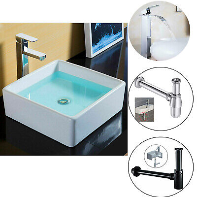 Bathroom Basin Sink Hand Wash Counter Top Wall Mounted Hung Ceramic Waste + Tap  • 51.89£