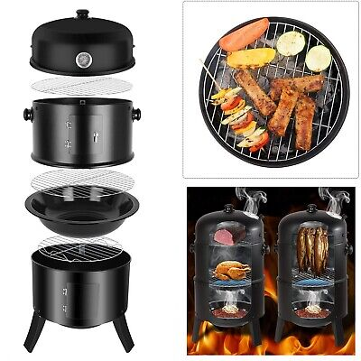 3in1 Smoker BBQ Charcoal Grill Portable Outdoor Barbecue Food Cooking Drum Oven • 39.99£