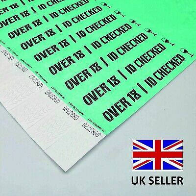 £2.99 • Buy TYVEK Paper ID Age Checked WRISTBANDS VIP OVER 18 Nightclub Security