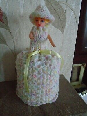 Hand Knitted Candyfloss Doll Toilet Roll Cover • 4.99£