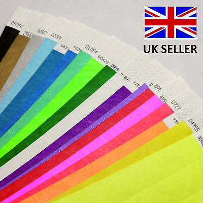 £3.89 • Buy 19mm Plain Coloured TYVEK ID Wristbands MIXED ASSORTED 18 COLOURS RAINBOW PACK