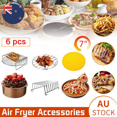 AU26 • Buy 7 In Air Fryer 6pc Accessories Frying Cage Dish Baking Pan Rack Pizza Tray Pot
