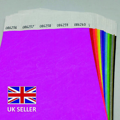 £3.99 • Buy 25mm Mixed Plain Coloured Wide TYVEK Paper ID Security WRISTBANDS Events Parties