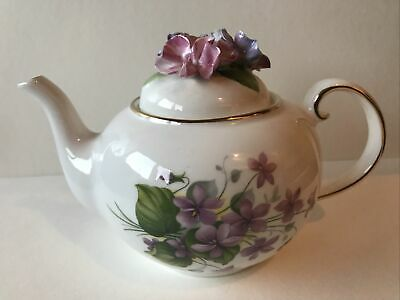 ROYALE STRATFORD SWEET VIOLETS Country Cottage Teapot -RARE • 11.50£