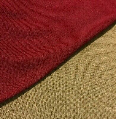 £5.49 • Buy Burgundy And Beige Colours Stretch Thin Sweater Knit Fabric- Sold By The Metre