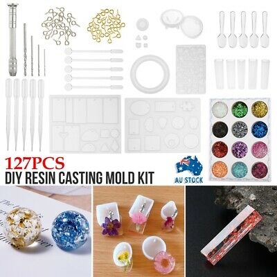 AU16.79 • Buy 127Pcs DIY Various Resin Casting Mold Kit Silicone Jewelry Pendant Making Mould
