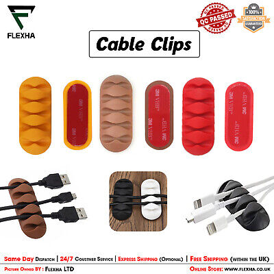 USB Cable Wire Organizer Tidy Clips Office Drop Lead Desk Office Wire Clips Ties • 2.20£