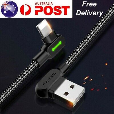 AU7.99 • Buy 90 Degree Right Angle Lightning Cable USB Charger Fast Charging Cord IPhone IPad