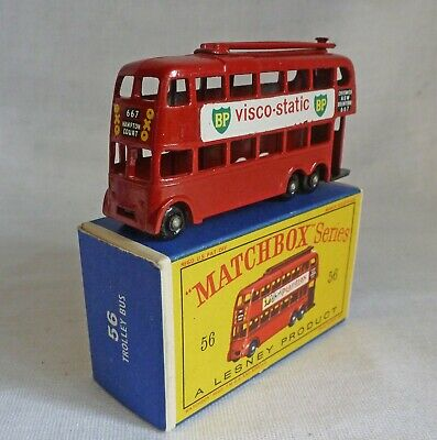 Lesney Matchbox MB56a Trolley Bus With BPW &  VISCO-STATIC  Decals • 155£