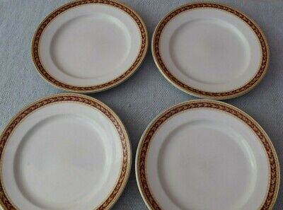 4 Sampson Bridgwood Ironstone Red & Gold Border Dinner Plates • 10£