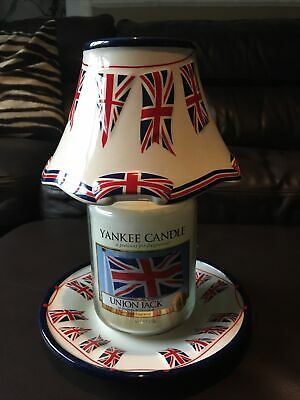 Yankee Candle Union Jack Large Candle And Shade And Plate Limited Edition Set • 62£