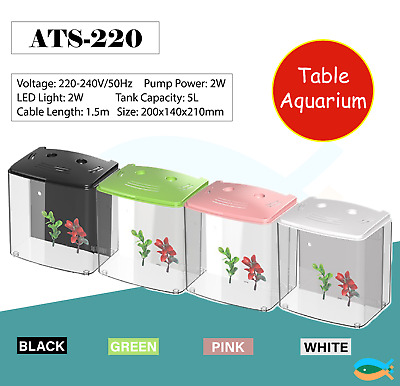 AU49.90 • Buy SUNSUN Small Desktop 5L Acrylic Ecological  Fish Tank With LED Light And Filter