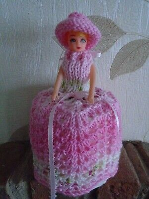 Hand Knitted Strawberry Crush Doll Toilet Roll Cover • 4.99£