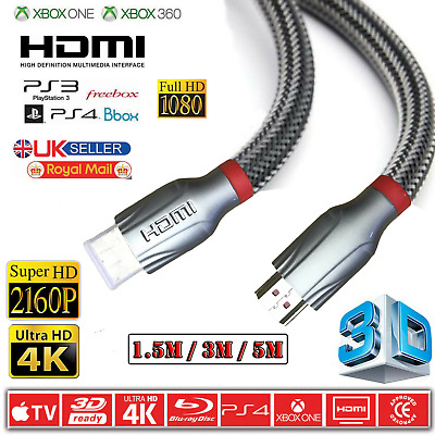 $ CDN13.78 • Buy 4K Premium HDMI Cable High Speed V2.0 Extra Long Lead Ultra HD 3DTV PS3 2160P