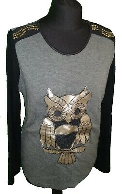 GREY / BLACK OWL JUMPER - UK Size 12 • 2£