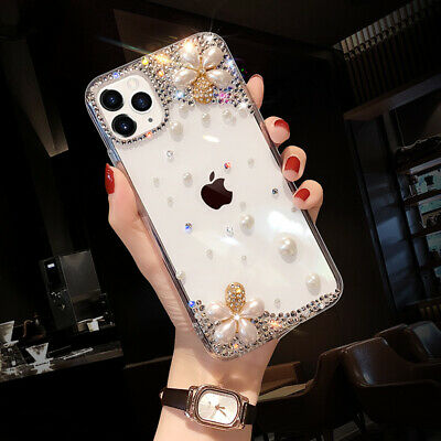AU16.59 • Buy Girls Bling Glitter Diamond Pearl Flowers Case For IPhone 12 11 Pro X Max XR 7 8