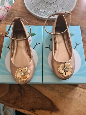 Brand New Girls Bronze Monsoon Shoes With Gold Flower Detail Never Worn, Size 12 • 3£
