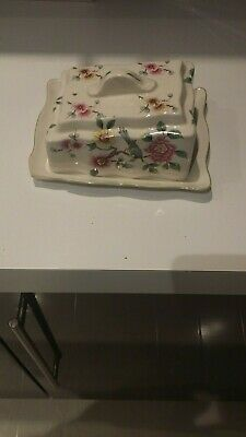 Butter/cheese Dish With Flower Pattern • 10£