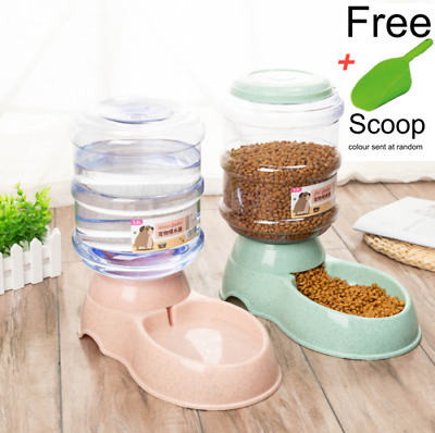 NEW 3.5L Large Automatic Pet Food Drink Dispenser Dog Cat Feeder Water Bowl Dish • 13.99£