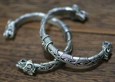 Heavy Norse Viking Wolf Head Silver Open Bracelet Dragon Fenrir Bangle 62g J2  • 12.95£