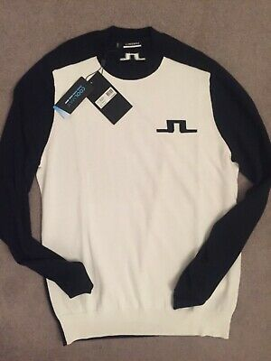 New J.LINDEBERG GOLF 2020 HECTOR COOLMAX Crew Sweater, BLACK/WHITE, Men's LARGE • 43£