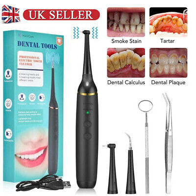 Dental Scaler Tartar Calculus Plaque Remover Electric Sonic Tooth Stains Tool UK • 12.89£