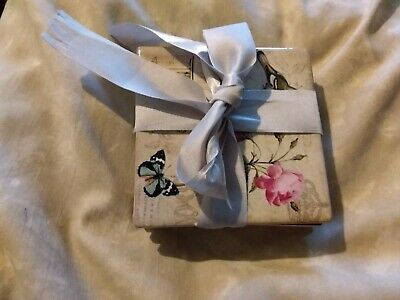 Shabby Chic Set Of 4 Coasters Ceramic Floral/ Birds/Butterfly Design • 8.99£