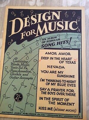 Sheet Music Design For Music Book/Nevada/You Are My Sunshine/Kiss Me/Amor Amor + • 5£